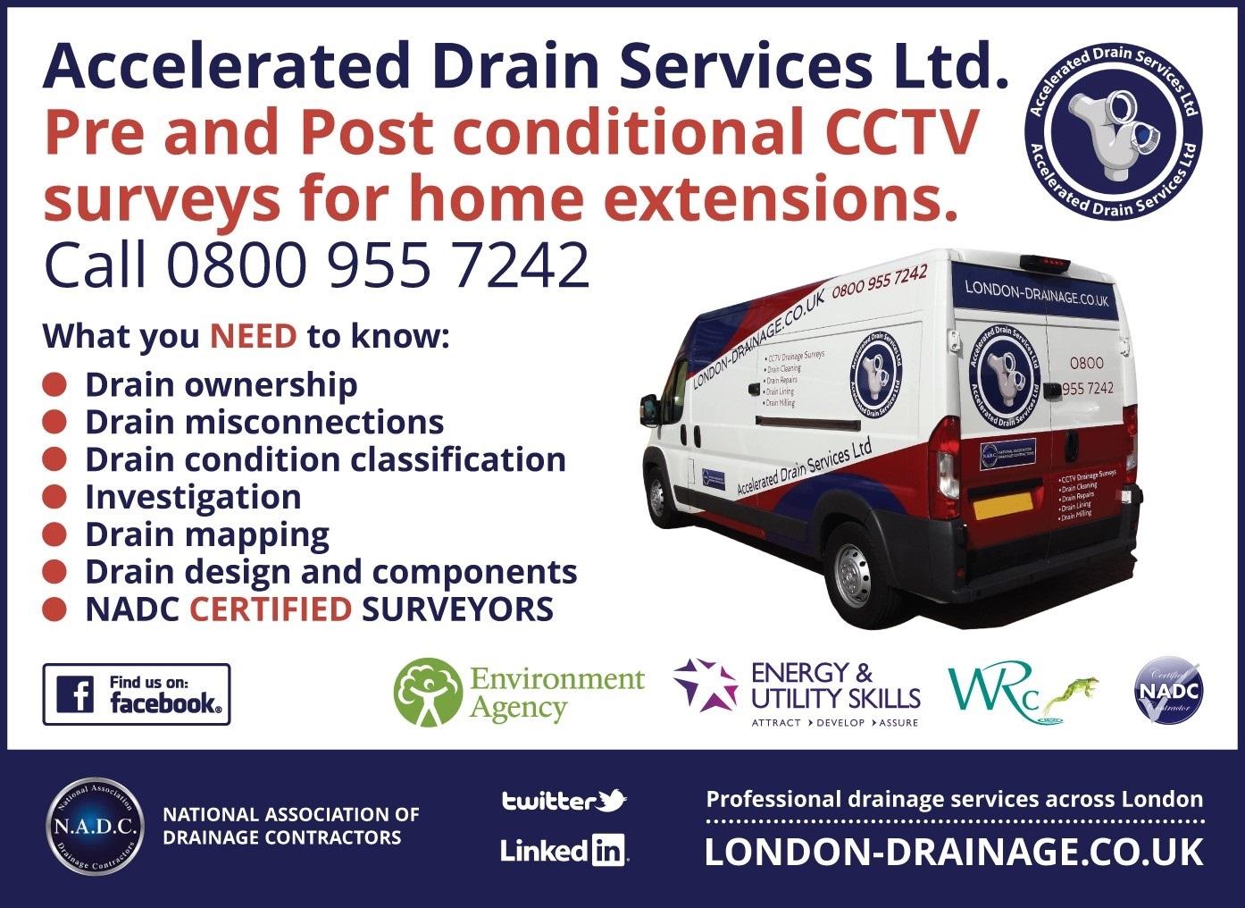 Build Over Drainage Surveys, Waltham Forest - E10, E11, E15, E17, E4, E5, E7